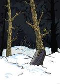 Assustadoras árvores num cemitério — Vetor de Stock