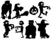 Silhouette set of Halloween characters — Stock Vector