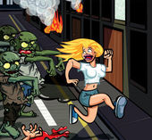 Cartoon zombies chasing woman — Stock Vector