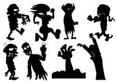 Collection of silhouette halloween characters — Stock Vector