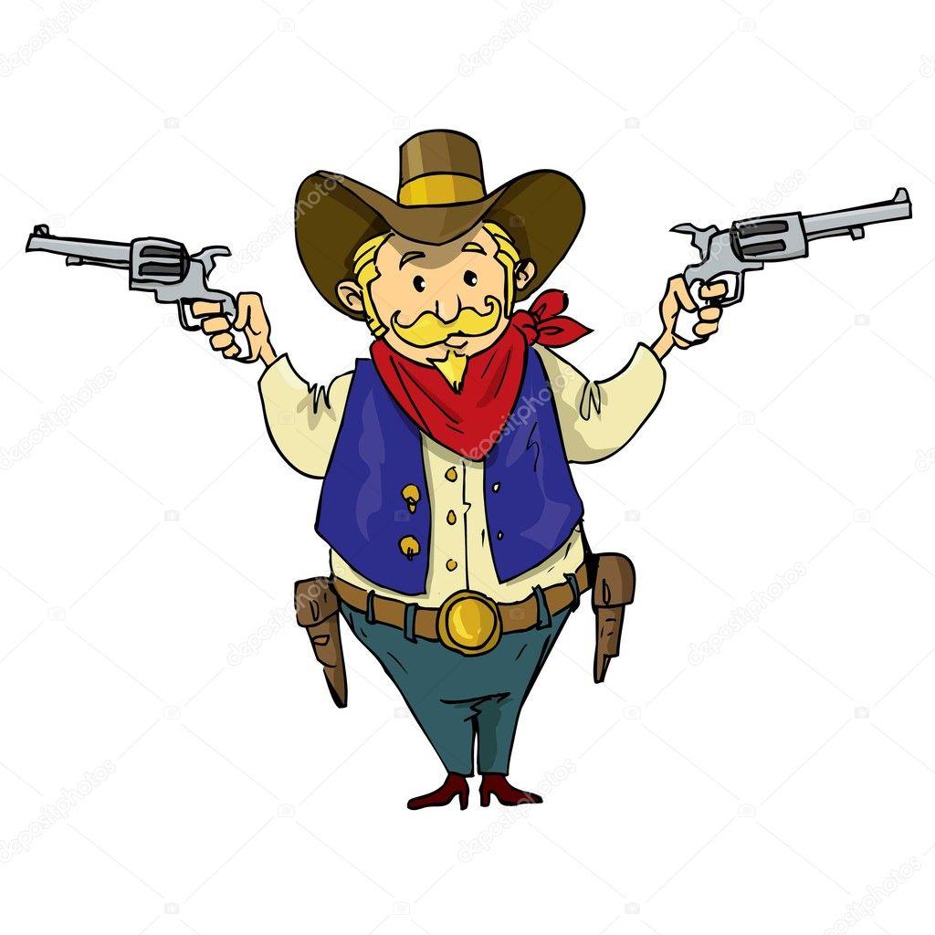 Cartoon Cowboy with Gun
