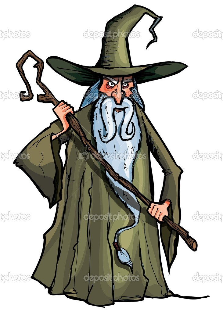 Cartoon Wizard with staff. Isolated on white — Stock Vector #7883410