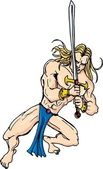 Cartoon barbarian swordsman with blonde hair — Stock Vector