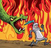 Cartoon of a knight running from a fierce dragon — Stock Vector