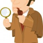Постер, плакат: Cartoon Sherlock Holmes with a magnifying glass