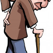Royalty-Free Stock Vector Image: Cartoon of old man with a walking stick