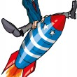 Cartoon man on a flying rocket - Stock Vector