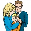 Royalty-Free Stock Immagine Vettoriale: Illustration of family of three