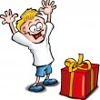 Cartoon of Excited kid receiving a gift - Stock Vector