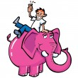 Cartoon drunk man riding a pink elephant — Stock Vector