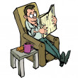 Cartoon in a lounge chair reading a newspaper - Stock Vector