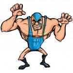 Постер, плакат: Angry cartoon wrestler with a mask