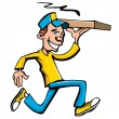 Cartoon of pizza running delivery boy - Stock Vector
