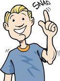 Cartoon van jongen magnetisch zijn vingers — Stockvector