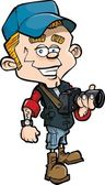 Cartoon photo journalist with a camera — Stock Vector