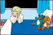 Cartoon boy saying prayers — Stock Vector