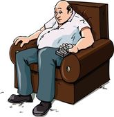 Cartoon of a Couch Potatoe — Stock Vector