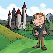 パイプを持つ男にも漫画 — ストックベクタ