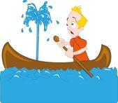 Cartoon of man in a sinking canoe — Stock Vector