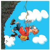 Cartoon Mountaineer falling of a mountain — Stock Vector