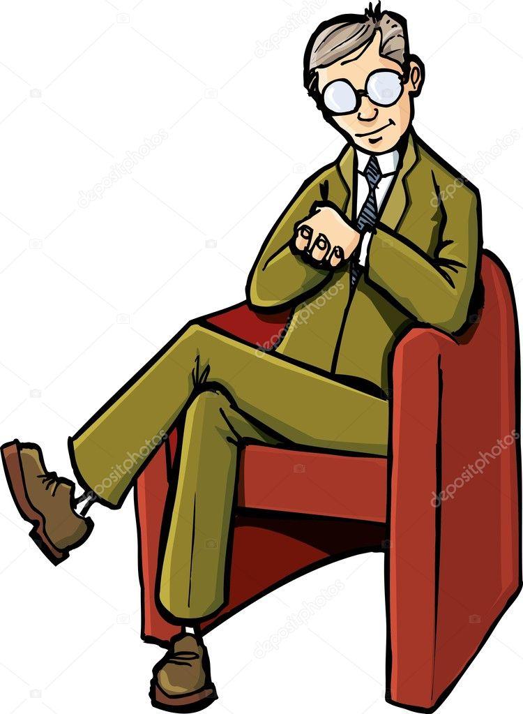 Cartoon psychiatrist sitting on his chair Stock Vector  : depositphotos7902717 Cartoon psychiatrist sitting on his chair <strong>DXL Big  and Tall</strong> from depositphotos.com size 750 x 1023 jpeg 75kB