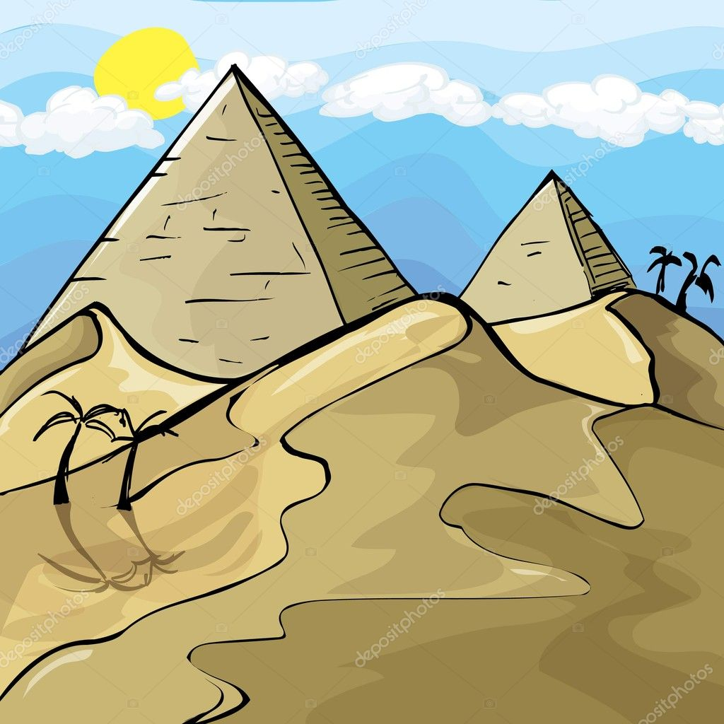 Illustration of Egyptian Pyramids. Sky and sun behind — Stockvectorbeeld #7902849