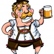Cartoon man wearing a lederhosen — Stock Vector