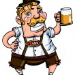 Cartoon man wearing a lederhosen - Stock Vector