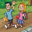 Cartoon boy and girl going to school — Stock Vector