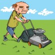 Stock Vector: Cartoon man mowing his lawn
