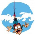 ������, ������: Cartoon bungee jumper falling in fear