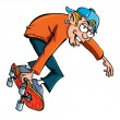 Cartoon of skater teen — Stock Vector