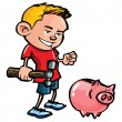 Cartoon boy with a piggy bank — Stock Vector