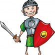 Cartoon Roman legionary with sword and shield — Stock Vector #7927343