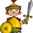 Cartoon Roman legionary with sword and shield — Stock Vector