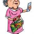 Cartoon of old lady shopping with shopping list — Stock Vector