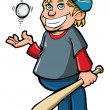 Royalty-Free Stock Vector Image: Cartoon of boy with baseball bat and ball