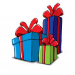 Cartoon of group of christmas gifts — Stock Vector
