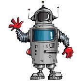 Cartoon robot waving his hand — Stock Vector