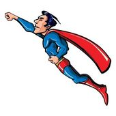 Cartoon flying superhero illustration — Stock Vector