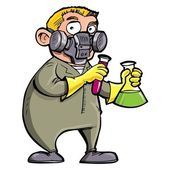 Cartoon Scientist experimenting with chemicals — Stock Vector