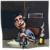 Cartone animato parlare presentatore radiofonico — Vettoriale Stock
