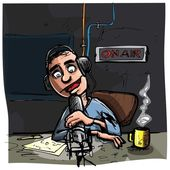 Cartoon Talk radio presenter — Stockvector