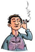 Desenhos animados de fumaça mal enchimento de pulmões de cigarros — Vetor de Stock