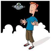 Cartoon Alien encounter with small UFO — Stock Vector