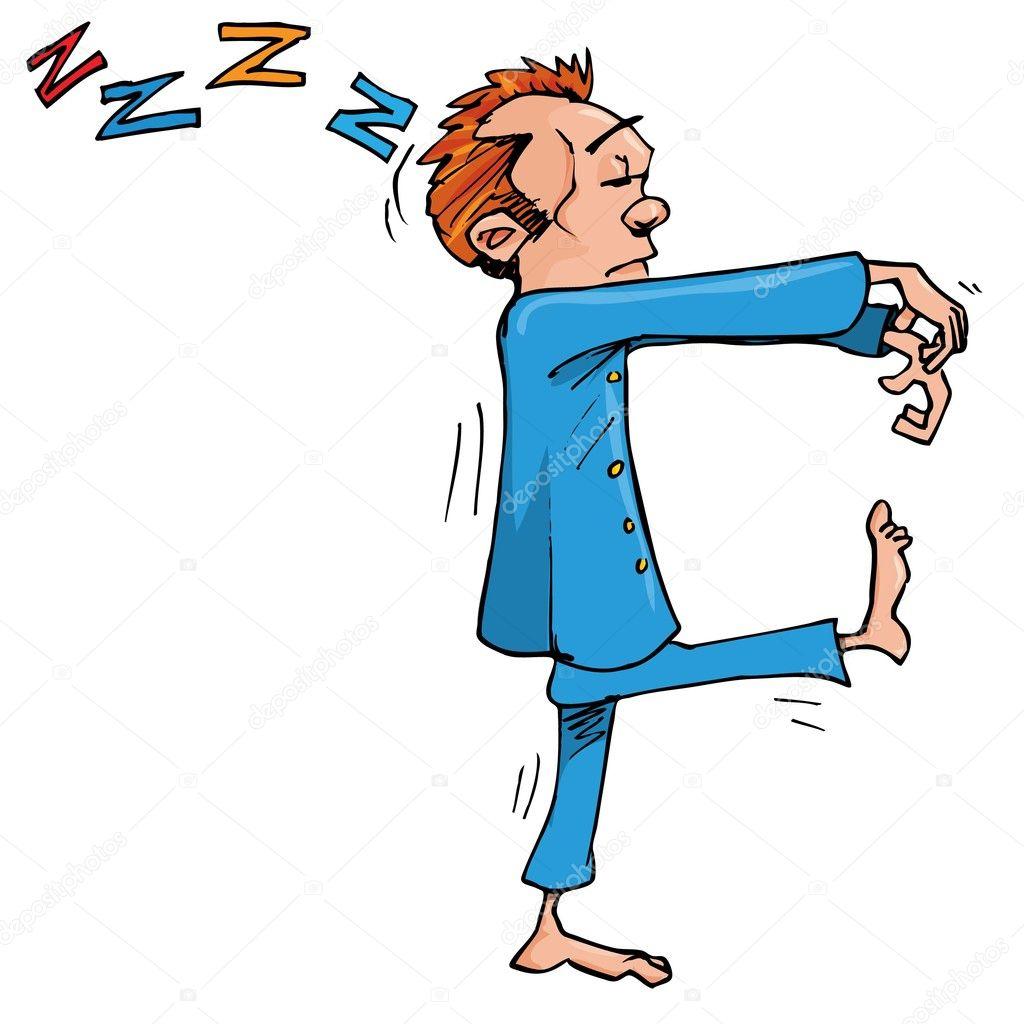 Cartone animato sonnambulo con mani tenuto nella parte