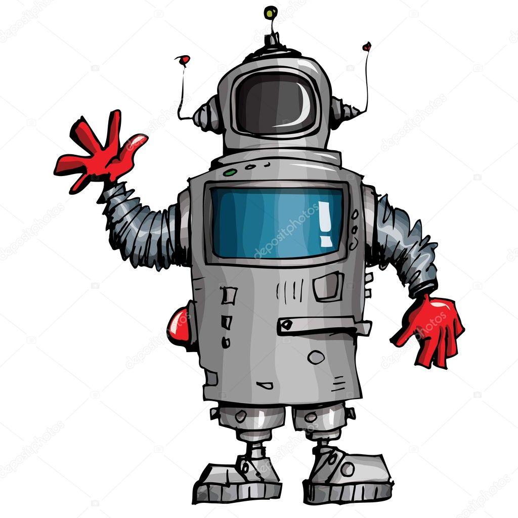 Robot dei cartoni animati agitando la mano — vettoriali