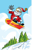 Cartoon Santa doing a jump on a snowboard — Stock Vector