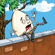 Stock Vector: Humpty dumpty falling of wall