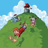 Carton Jack and Jill falling down a hill — Stock Vector